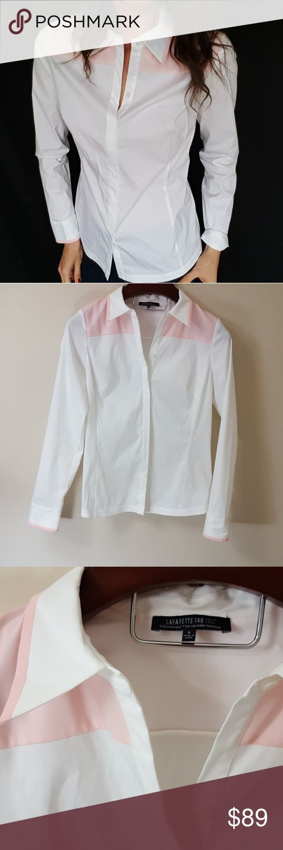 Lafayette 148 white and PINK button up size 6 -C4 Beautiful Lafayette 148 exclusively for Neimun Marcus. Size 6, loose fit with stretch. 18 inches across chest. Used item: inspected for quality and wear. Pictures show any signs of wear. See cuff for imperfection. Bundle up! Offers always welcome:) Lafayette 148 New York Tops