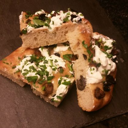 Delicious nutmeg coated aubergine pieces, black olives, cottage or ricotta cheese, parsley and lemon atop golden focaccia.... recipe can be found on the blog via my website.