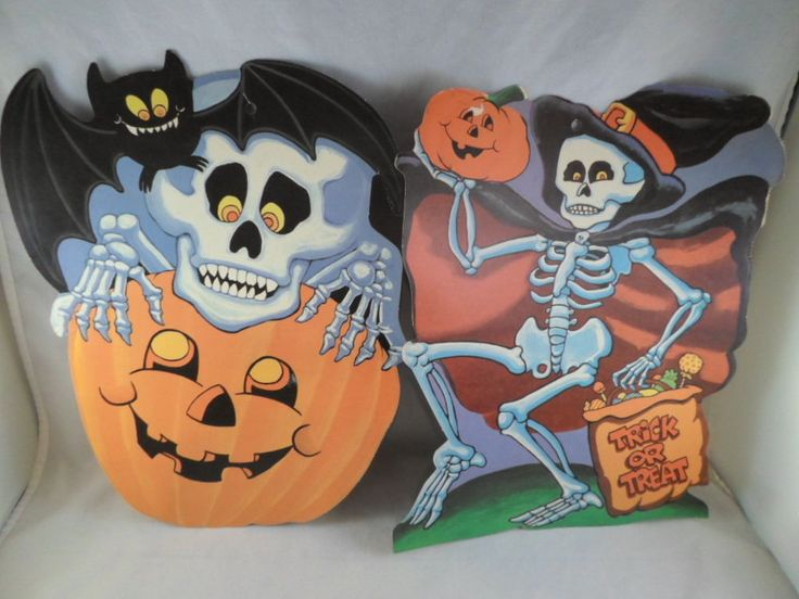 eureka halloween vintage die cut decorations skeleton set of 2 13 in collectibles holiday - Ebay Halloween Decorations