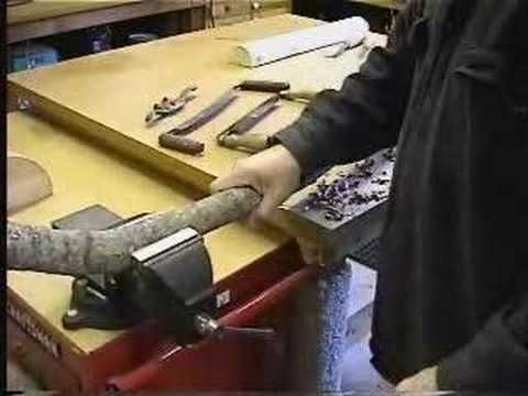 Basic instruction for using a drawknife to peel bark, and cutting a tenon for a mortise and tenon woodworking joint.