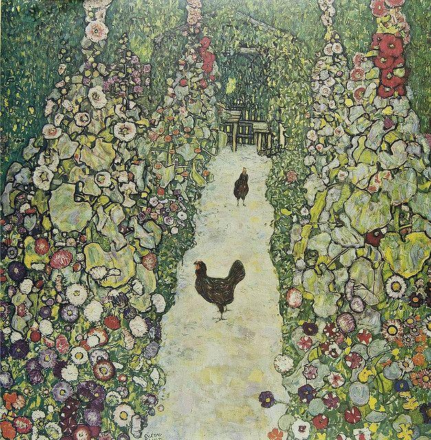 Klimt.Art Nouveau, Oil On Canvas, Gardens Paths, Garden Paths, World Wars Ii, Lost Art, Gustav Klimt, Gartenweg Mit, Art Projects