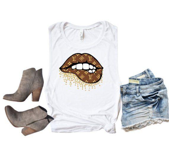 d6cc0729a Louis Vuitton Glitter Lip Shirt, LV Shirt, Designer #clothing #women  #tshirt @EtsyMktgTool #teachervalentine's #louisvuitton
