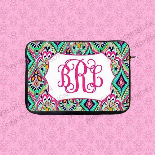 Monogram Laptop Sleeve Personalized Laptop Sleeve Lilly