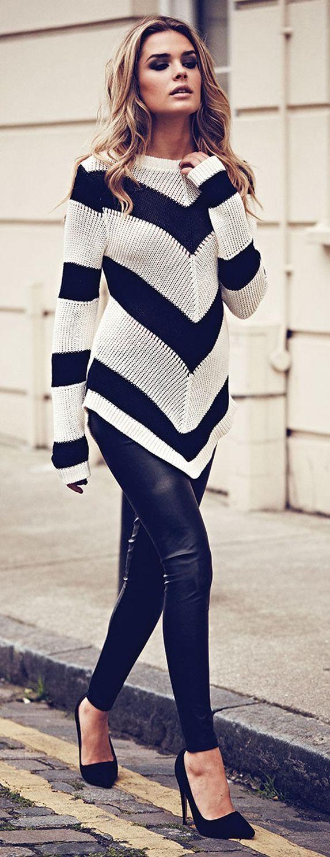 Chevron Stripe Jumper from Jane Norman... | Style Inspiration