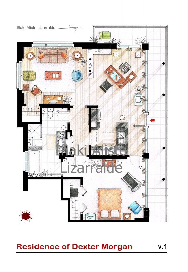 Floorplan of Dexter Morgan's apartment by TVFLOORPLANSandMORE