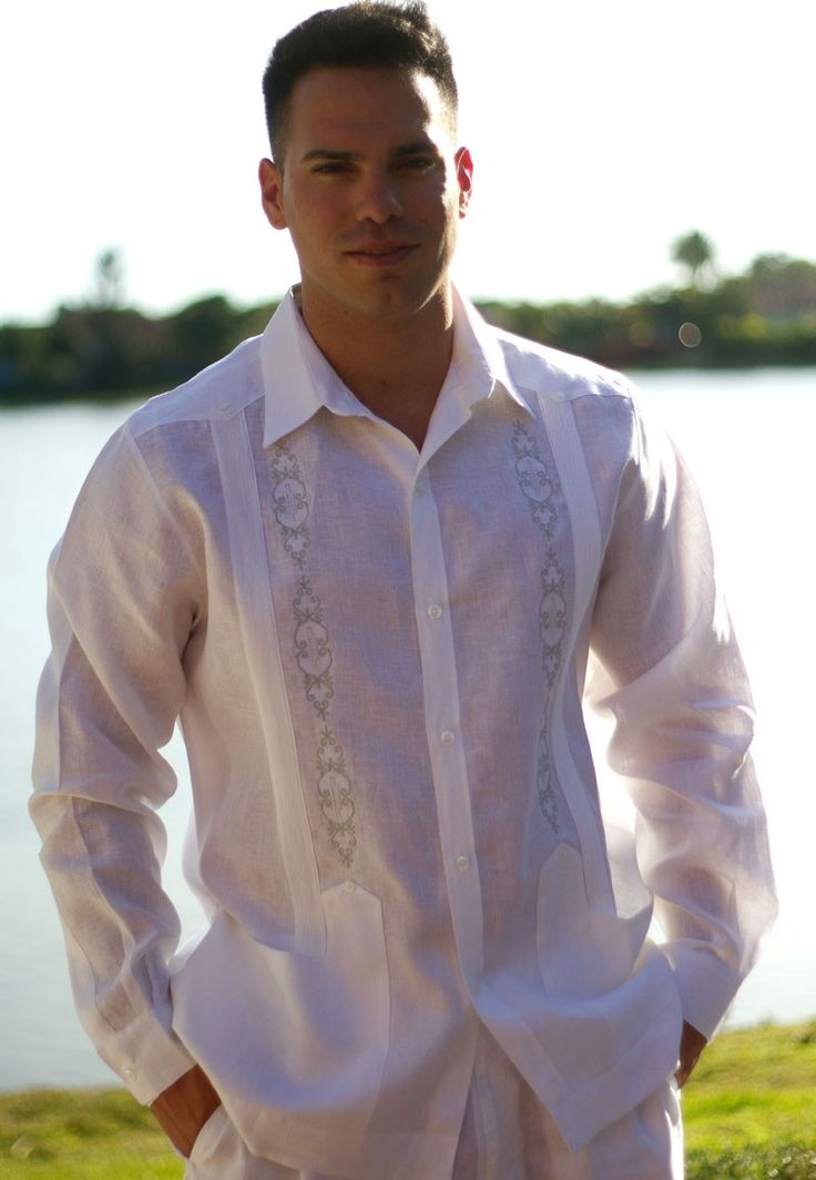 Wedding Long Sleeve Guayabera. Irish Linen 100 %  (MLS2418) - Linen Guayabera for wedding. These guayaberas have manly tone on tone embroidery on front.   This Guayabera is  manufactured by D'Accord in 100% Premium Linen.  Availability is subject to change. It may take 3 weeks to arrival.  Available in Plus Size.   Colors: White & Gray, White & White.  Size Chart Available.
