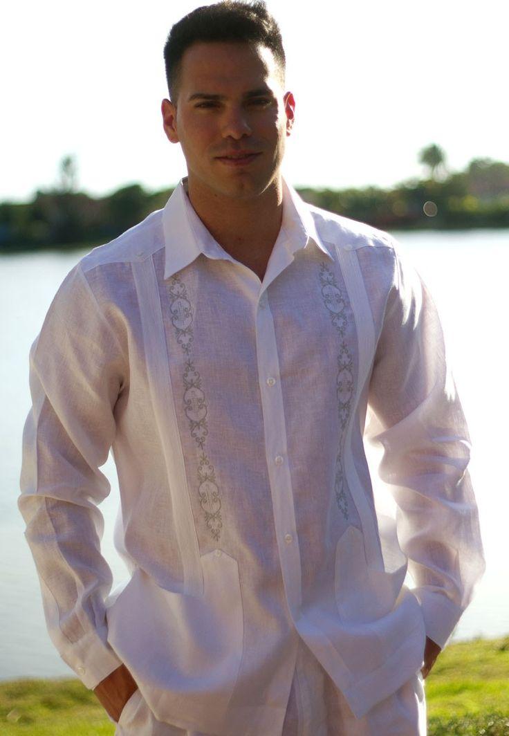 Plus size dress long sleeve guayabera