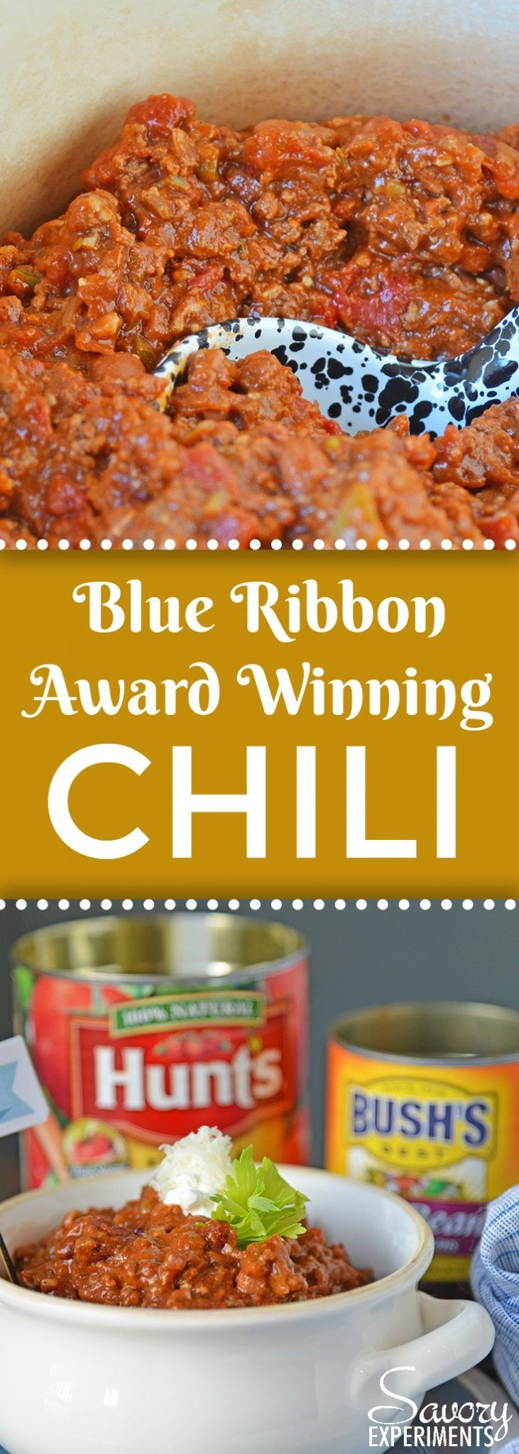 Blue Ribbon Award Winning Chili is, you guessed it, a chili cook-off winning recipe! A robust and rich stew loaded with beef, sausage, bacon and tons of vegetables. The best chili recipe ever! #AD #chilirecipe #awardwinningchili www.savoryexperiments.com