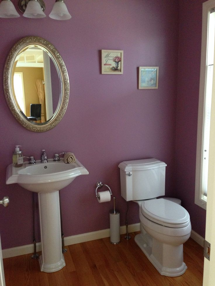 Sherwin Williams Thistle in the powder room. Love it ...
