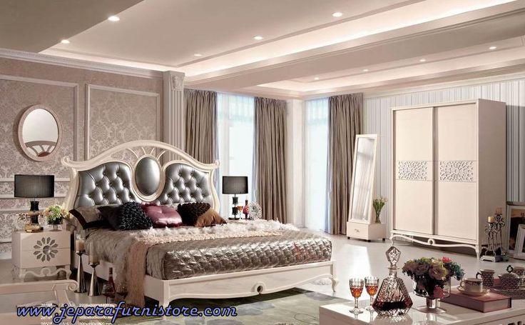 Jual Furniture Kamar Set Mewah Duco Jepara dan set furniture kamar tidur jepara dengan bahan kayu mahoni kombinasi finishing putih duco mewah harga murah