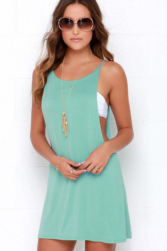 To Be Carefree Seafoam Sleeveless Dress at Lulus.com!  Would be super cute as a bathing suit cover up