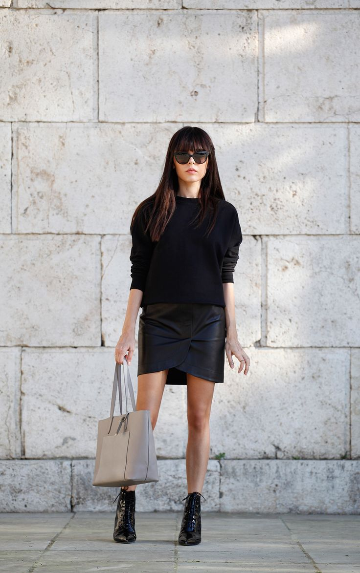 Style Heroine Wearing Tote From Smythson Panama, Balenciaga Skirt And Top, Saint Laurent Boots And Jimmy Choo Sunglasses