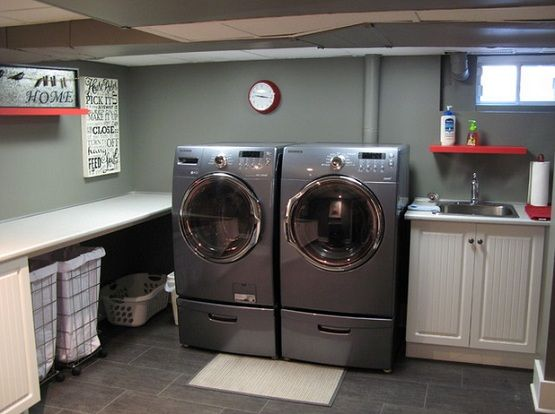 Basement laundry room ideas, DIY, design, colors, pipes, cheap, cement, top loader, combo, budget, update, paint, farmhouse, closet, dark, large, stone, bright, redo, door, under stairs, counter tops, tips, projects, house plans for your house