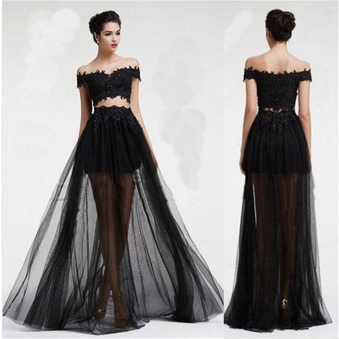 Black Off Shoulder Tulle Long Two Pieces Party Evening Prom Dresses Long Prom Dresses by DestinyDress, $225.00 USD