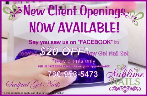 New Client openings available! Text Elise 780-953-5473, located in Edmonton AB