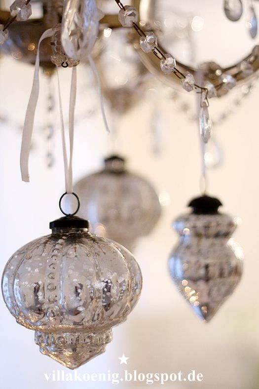 Mercury glass ( I love these amazing ornaments.  I have them all over my tree )