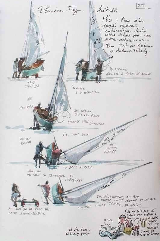 """Plounéour-Trez, Finistère, Brittany // sketch made by Yann Lesacher (watercolourist, portraitist, painter, caricaturist and bon vivant) // The project """"A Britain by the Contours"""" is underway and will be completed when he will have paced the GR34 in full (approximately 2500 km ..). Yann has already completed more than 1,000 pages from regular walks and in all seasons."""