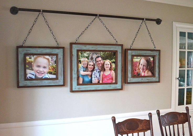 Iron Pipe Family Photo Display - After building rustic picture frames out of some scrap lumber, we designed a unique way to hang them on our dining room wall.…