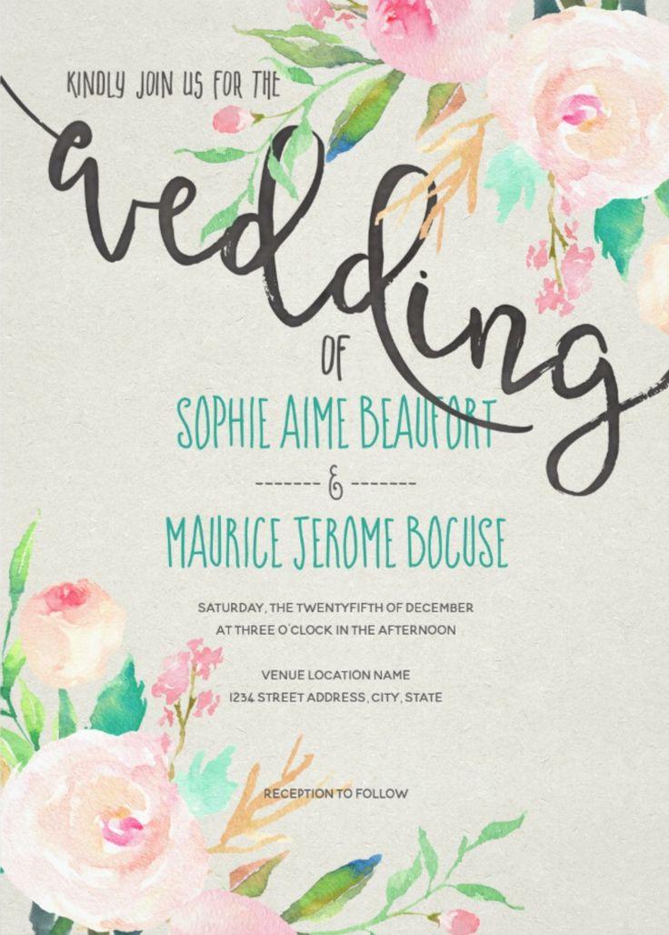 Pastel Peonies Wedding Card By Jdc Invitation Handpainted Watercolor Pink Peach