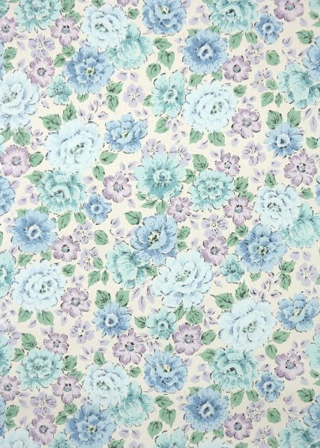 Vintage Wallpaper Blue And Purple Flowers