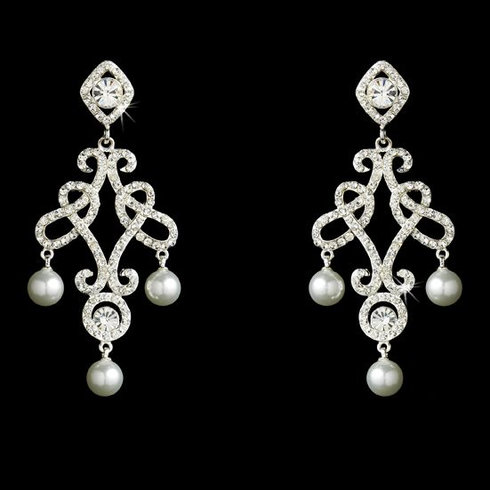 Dramatic! Austrian Crystal and Pearl Chandelier Bridal Earrings
