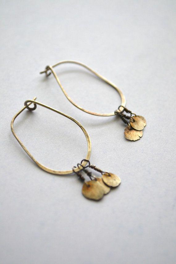 rustic sterling silver hoop earrings with by pliersAfires on Etsy, $33.00