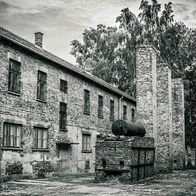 --- Photo by @kandihamble --- Auschwitz I. Block 1 and remains of the first camp kitchen and bath house.