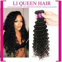 6A Remy Queen Hair Products Brazilian Deep Wave Virgin Hair Cheap 5pcs/lot Unprocessed Brazilian Deep Curly Hair Weaves 6-30inch