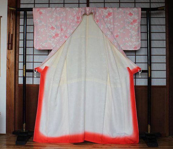 Roze Kimono Japanse zijde Kimono badjas Vintage Komon