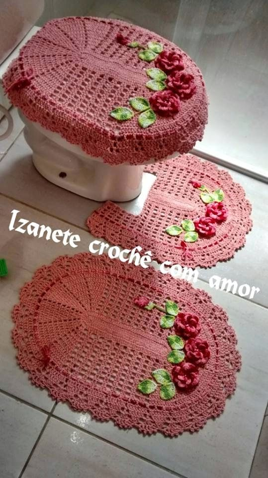 Crochê com amor: PAP - Jogo de banheiro com flores aplicadas