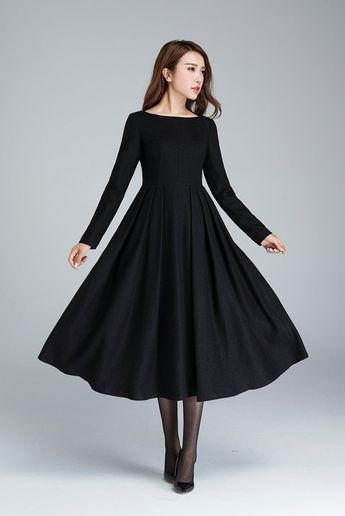 Black wool dress, pleated dress, winter dress, midi dress, fitted and flare dress, evening dress, casual dress, day dress 1622