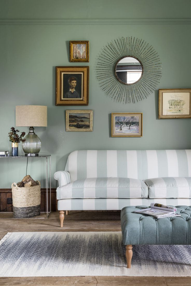 Peter 3-Seater Sofa in Devonsea Stripe with Reginald Footstool, Paradise Table Lamp, Fife Console in Blue & Ra Mirror
