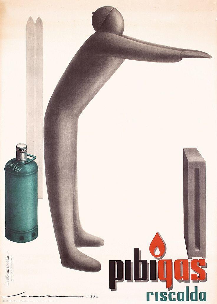 Federico Seneca (1891-1976, Italy), 1951, Pibigas Riscalda, Printer Grafiche Milani, Milano, 140 x 100 cm.