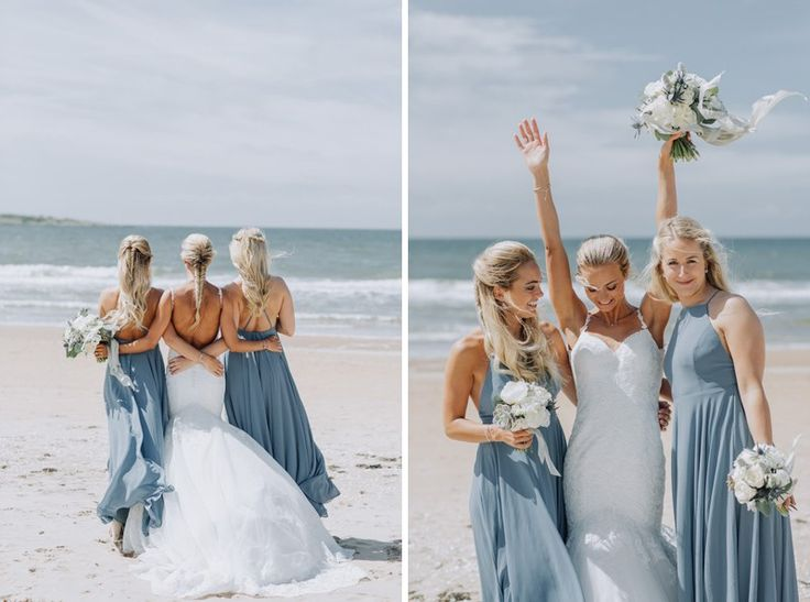 beach wedding styled by Fanny Staaf Events in Tylösand | Wedding dress by Morilee | Bridesmaid dresses by Lulus.com | Blue bridesmaid dress | braided wedding hair | brudfrisyr fläta + bröllopsfotograf tylösand