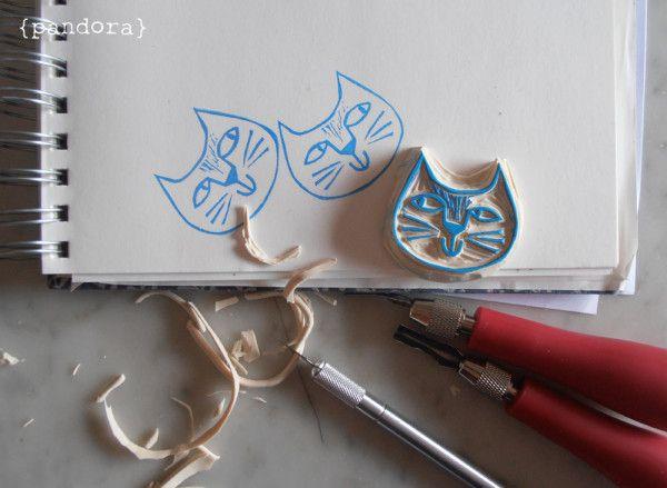 timbro gatto > pandora creazioni #rubberstamp #cat