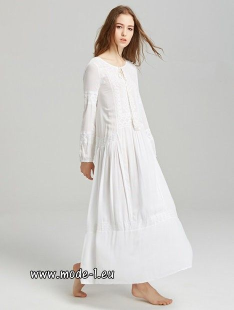 Langarm Baumwoll Boho Maxikleid in Weiß