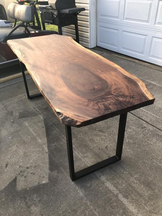 Free Shipping Gorgeous Live Edge Walnut Slab Desk Etsy Wooden Slab Table Slab Desk Wood Table Design