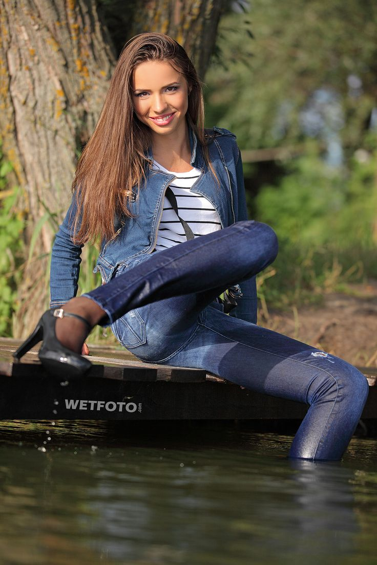Girl Take A Swim Fully Dressed Jeans Clothing  Jean -7127