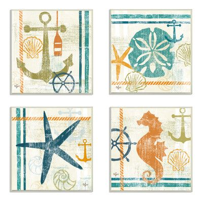 Stupell Industries Seahorse, Sand Dollar, Anchor, and Starfish Beach Theme Graphic Art Wall Plaque