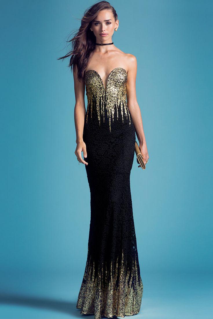 Women's Maxi Dresses | Gold Drip Lace Gown | A'GACI