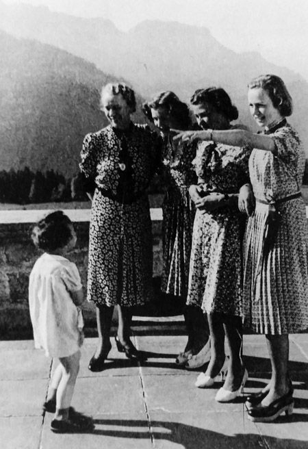 Eva Braun (third from right) with best friend Herta Schneider (second from right), friends and Herta's daughter Uschi on the Berghof terrace.  These images were included in pages of Herta Schneider's photo albums and cataloged as such when I viewed and photographed them in the National Archives. (via gentleman-blackbird)