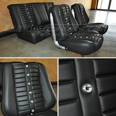 Chevrolet 65 chevelle leather wrapped seats with custom machined billet aluminum grommets with perforated aluminum center inserts and red #suede backing accents, grommets custom made on a cnc lathe... it is VERY expensive proposition. Email me for more information on ideas to make them more cost effective at ericp@LeatherSeat... , custom seat upholstery grommets