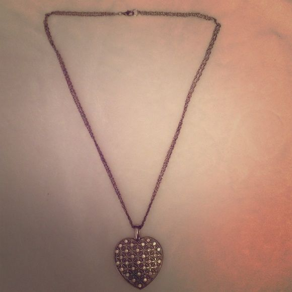 Heart shaped necklace Double silver chained necklace with large heart pendant with faux diamonds Jewelry Necklaces
