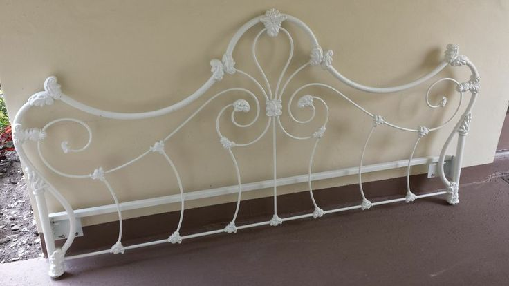 Antique Heavy Duty Painted White Wrought Iron Queen / King