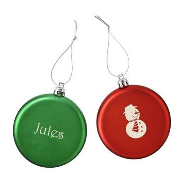 Cadeau malin: Boules de Noël plates motif et prénom