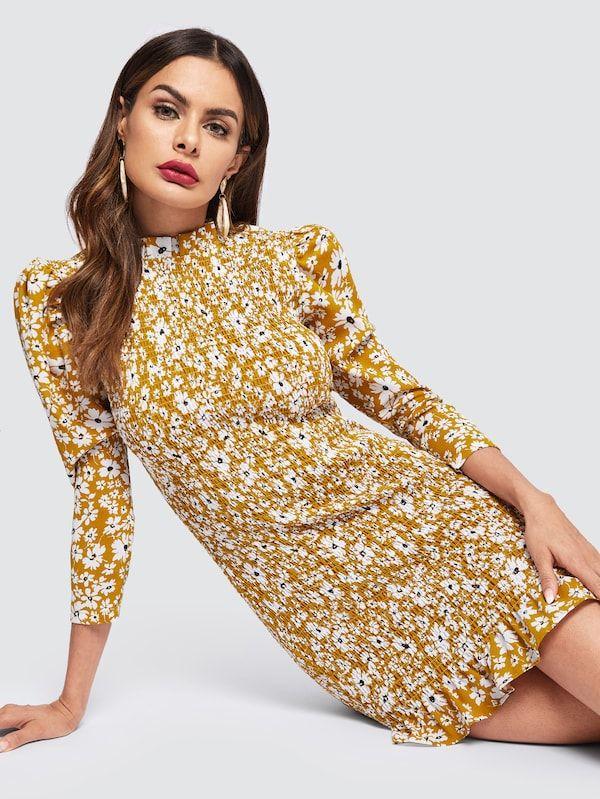 c215c76a9e9 Frilled Neckline Puff Sleeve Shirred Floral Dress -SHEIN(SHEINSIDE ...