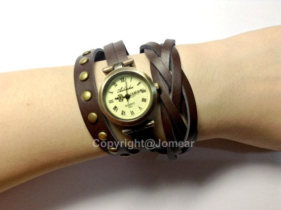 Handmade Vintage Stud Leather Strap Watches Woman Girl Lady Quartz Wrist Watch Bracelet Watch Dark Brown