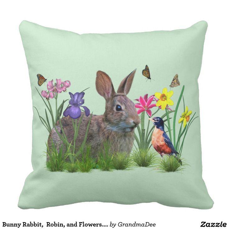 Bunny Rabbit,  Robin, and Flowers. Customizable Outdoor Pillow