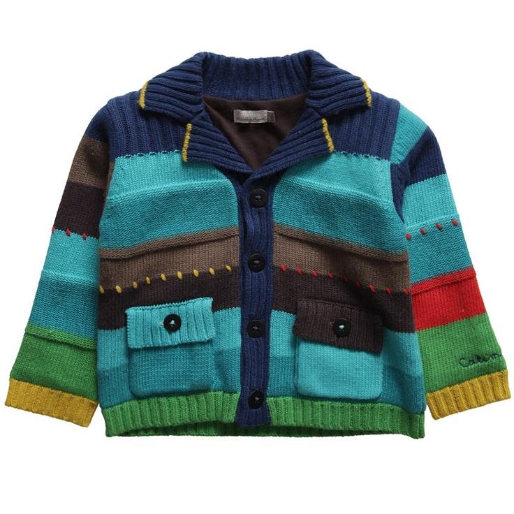 Boys Blue Stripe Knitted Cotton Mix Cardigan - Baby | Childrensalon