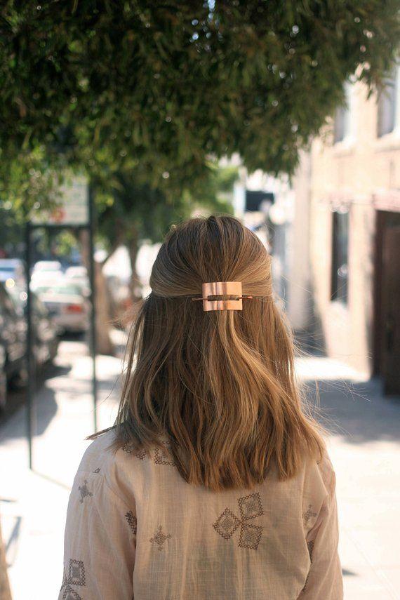 Hair clip geometric hair accessory modern hair pin simple hair accessories brass hair slide copper j